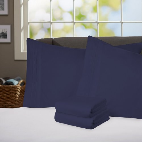 Sweet Home Collection Supreme 1800 Series 4Pc Bed Sheet Set Egyptian Quality Deep Pocket - Queen, Navy