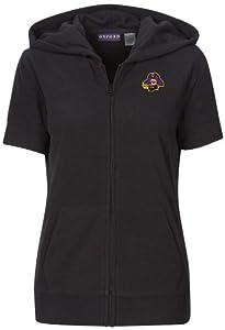 NCAA East Carolina Pirates Ladies Short Sleeve Full Zip Polar Fleece Hoodie, Black by Oxford