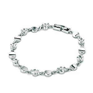 Pugster Silver Clear White Bracelet