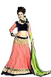 Fashion Fire Women's Orange Net Ghagra Unstitched Dress Material