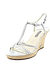 Michael Kors Women's Kami T-strap Wedge Sandals in Silver