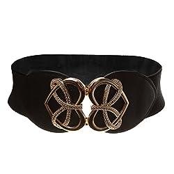 Heart Shape Ladies Buckle Belt Fashion Wide Stretch Girls Waistband - black, 61cm*6cm