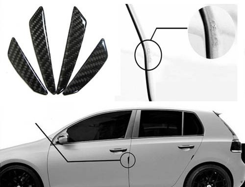 iJDMTOY Balck Real Carbon Fiber Car Side Door Edge Protection Guards Trims Stickers image
