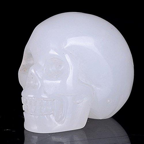 "Mineralbiz 1.5"" Natural White Jade Hand Carved Crystal Skull, White Stone Human Skull Head, Pocket Skull, Skull Carving, Crystal Gemstone Healing Re"
