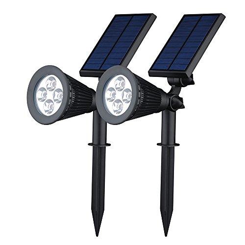 【2個同梱】 Qtuo ソーラー充電LED 防水LEDスポットライト ガーデンライト 【200ルーメン/180°角度調整可】