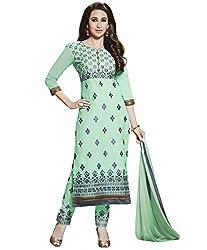 Rivafab Karishma Kapoor Light Green Pure Cotton Cambric Straight Cut Dress Material.