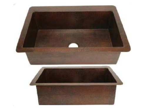 Single Bowl Copper Kitchen Sink - Dark Brown - Medium 30