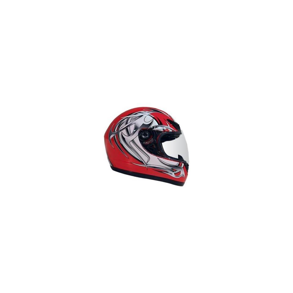 Small DOT Red & Silver Full Face Street Bike JIX Motorcycle Helmet