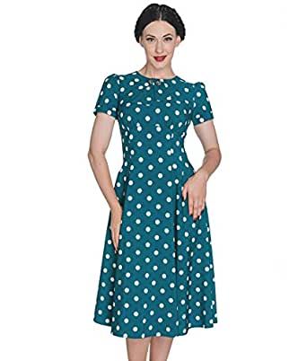 Hell Bunny 40s Madden Polka Dot Tea Dress Teal Uk 8 Xs