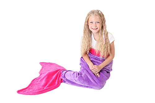 Mermaid Tail Blanket - Super Soft & Warm Polar Fleece Fabric Blanket by Cuddly Blankets. Perfect Gift for Kids and Teens (Ages 3-12) (Dark Purple & Hot Pink) (20 Green Machine Purple compare prices)