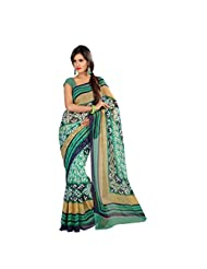 Admyrin Green And Multi Colour Printed Saree With Green Blouse Piece - B00W7EQJ8E