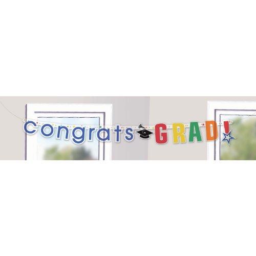 Congrats Grad Clear Letter Banner 7ft - 1