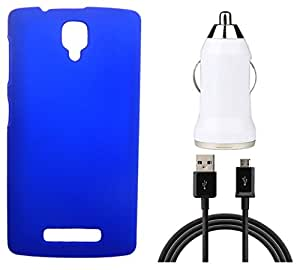 XUWAP Hard Case Cover With Car Charger & Data Cable For Lenovo A1000 - Blue