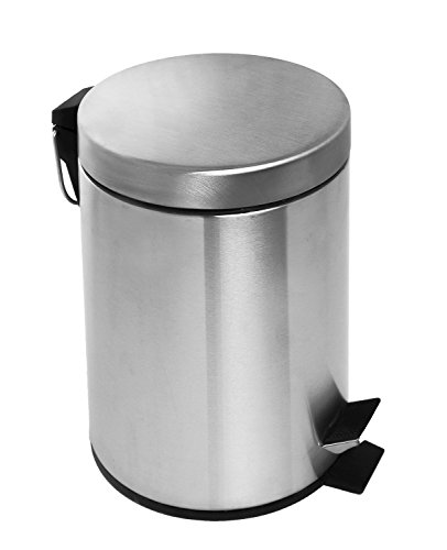 Estilo Round Brushed Stainless Steel Step Trash Can 3L - Fingerprint Resistant (Bathroom Trash Can With Lid compare prices)
