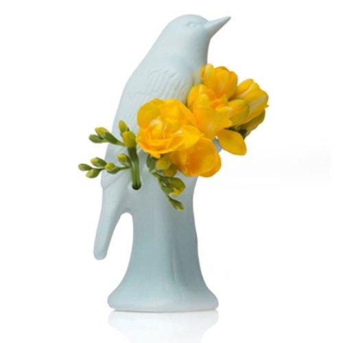 Chive Porcelain Bird Shaped Flower Vase Baby Blue Food