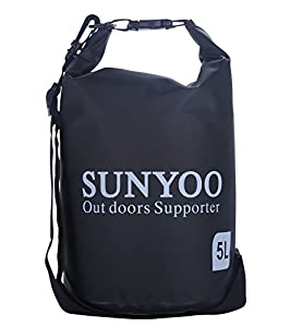 SUNYOO®Top rate 100% waterproof Dry Bag Shoulder Sack Bag for Swimming Surfing Fishing Boating,Skiing Canoeing Holdable Handy Shoulder Sack Bag (5L-Black)