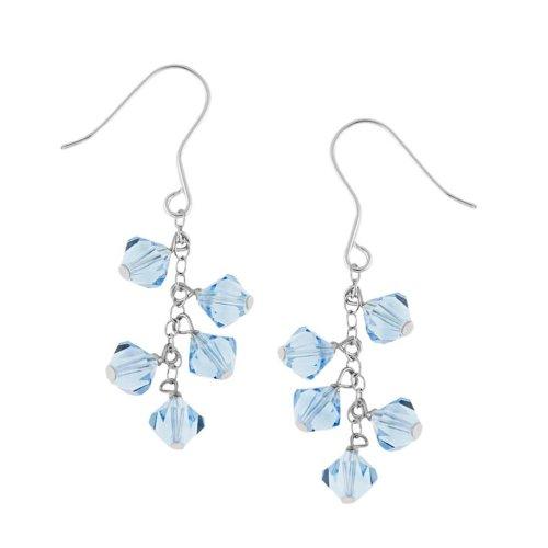 Sterling Silver Drop Earrings with Aqua Swarovski Elements