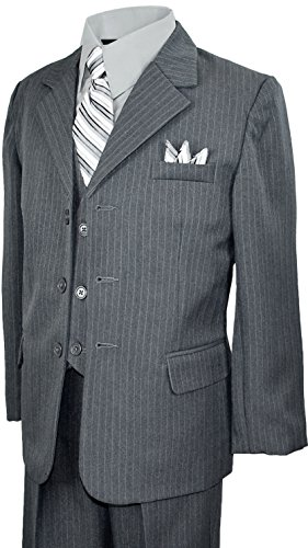 Boys Pinstripe Suit in Grey with Matching Tie Size 14