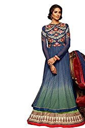 Nirali Women's Soft Net Salwar Kameez Unstitched Dress Material - Free Size (Blue)
