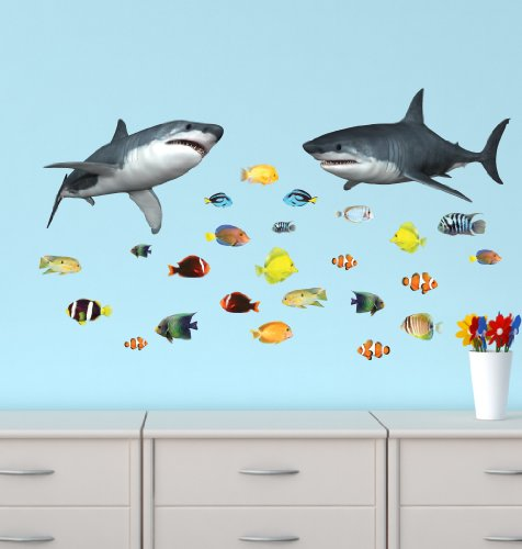 Shark Wall Stickers with Tropical Fish Decals
