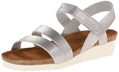 Naot Women's Kayla Wedge Sandal, Silver, 37 EU/6 M US