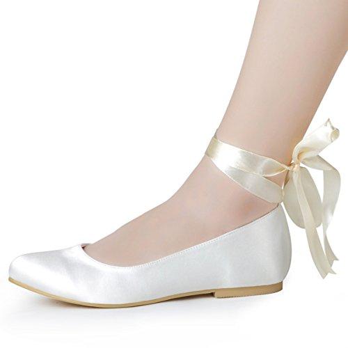 ElegantPark EP11105 Women's Closed Toe Low Heel Ribbon Tie Satin Wedding Bridal Flats Shoes