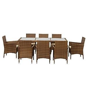 IKAYAA 9PCS Rattan Outdoor Patio Dinning Table Chair Set Cushioned Garden Furniture Set from IKAYAA