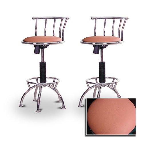 "2 24""-29"" Peach Vinyl Seat Chrome Adjustable Specialty / Custom Barstools Set front-1008184"