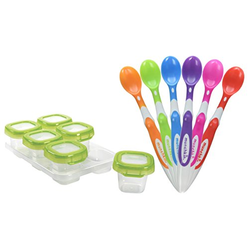 OXO Tot Baby Blocks Freezer Storage Containers, Clear with Munchkin 6-Pack Soft-Tip Infant Spoons (Munchkin Freezer Bag compare prices)
