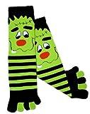 Green and Black Frankie Monster Toe Socks By K. Bell