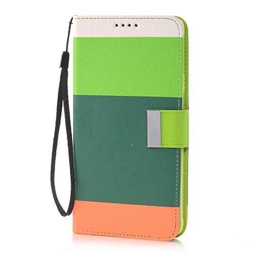 Nancy'S Shop Stand Case For Samsung Galaxy Note 4 Deego Colorful Wallet Pu Leather Credit Card Holder Pouch Case Cover For Samsung Galaxy Note 4 Iv (Colorful Wallet Nancy'S Shop Case Green/Orange)