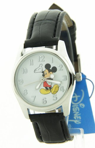 Disney Women's MCK810 Mickey Mouse Silver Case Black Strap Watch