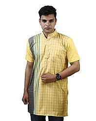 Modimania Solid Men's Chekered Yellow Modi Kurta