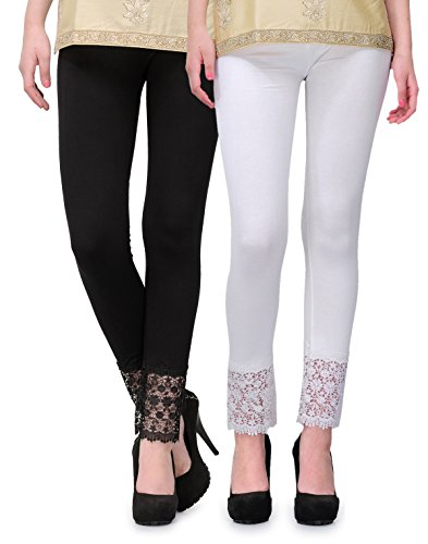 2Day Women's Cotton Viscose Plazzo Legging Combo Black/White-L