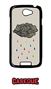 Caseque Rainbow Rain Back Shell Case Cover For HTC One S