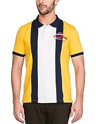 Zovi Men's Cotton Spectra Yellow Polo T-shirt With Navy Stripes (11945808101)