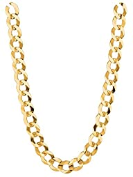 14k Solid Yellow Gold Comfort Concave Cuban Curb Link Chain Necklace 7 Mm