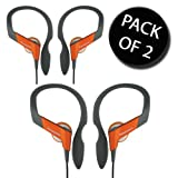 2x Panasonic RP-HS33E-D Water Resistant Over Ear Sports Earphone - Orange