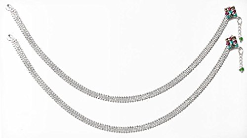 DollsofIndia Pair Of White Metal Anklet - 10 Inches Each - White - B01AON7F82