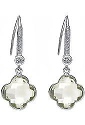 12mm 925 Sterling Silver Green Amethyst Clover Style Dangle Earrings