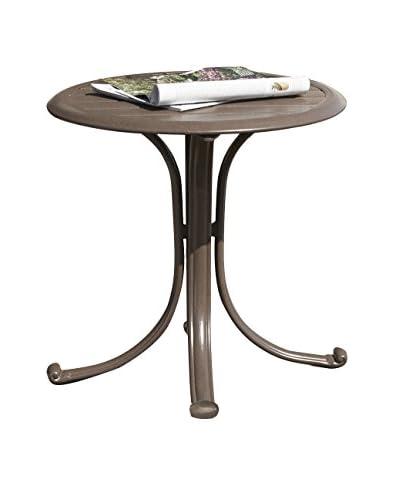 Panama Jack Island Breeze Patio End Table With Slatted Aluminum Top, Espresso