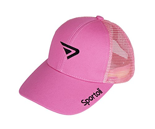 [Sportoli™ Adult and Kids Cotton Blend and Mesh Snapback Trucker Baseball Cap Hat - Pink] (Pink Top Hats)