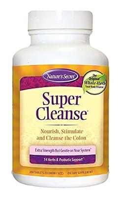 Nature's Secret Super Cleanse Herbal Supplement Tablets, 200-Count Bottles (Pack of 2)