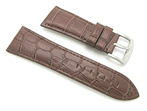 30mm Leather Alligator Grain Brown Watch Band with Spring Bars