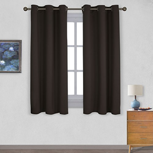Nicetown Triple Weave Microfiber Energy Saving Thermal Insulated Solid Grommet Blackout Curtains for Bedroom (One Pair,42 Inch by 63 Inch,Toffee Brown) (Maroon Kitchen Curtains compare prices)