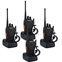 Retevis H-777 Walkie Talkie UHF 400-470MHz 5W 16CH Single Band Two Way Ham Amateur radio Transceiver Black 4 Pack With Original Earpiece, Battery, Antenna, Charger,and More