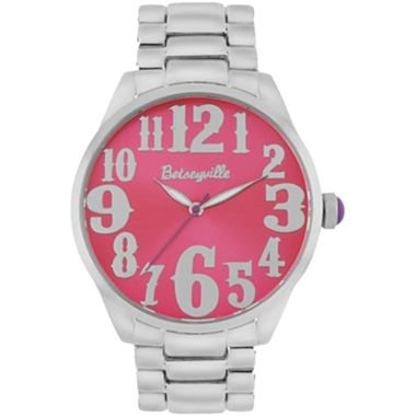 Betseyville® Silver Tone Pink Neon Face Watch