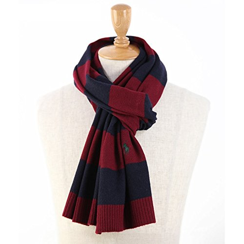 ラルフローレン ボーダーのウール混紡 スカーフ マフラー [並行輸入品] 0108433 (WINE/NAVY)