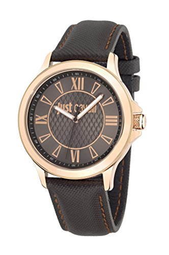 Just Cavalli Just Iron Men's Quartz Watch with Brown Dial Analogue Display and Purple Leather Strap R7251596001
