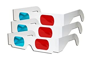Cozypony Lightweight 3 Pair 3d Glasses Red and Cyan Anaglyph Lenses White Multipack from Cozypony